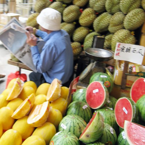View of a fruit stall. Typically, the type of small business triads will extort money from.